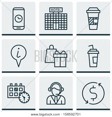 Set Of Airport Icons On Money Trasnfer, Hotel Construction And Takeaway Coffee Topics. Editable Vector Illustration. Includes Mobile, Gift, Call And More Vector Icons.