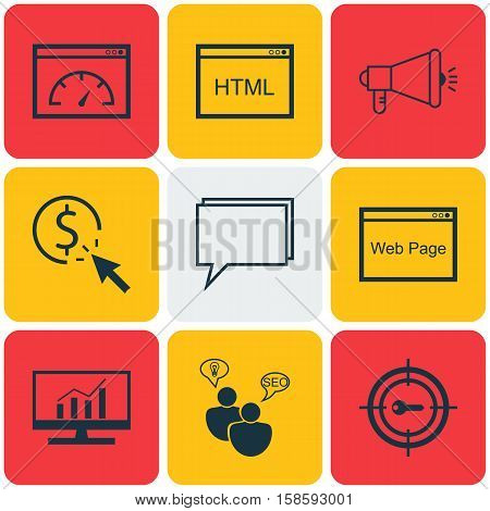 Set Of SEO Icons On Conference, Media Campaign And Coding Topics. Editable Vector Illustration. Includes Dynamics, Speed, Code And More Vector Icons.