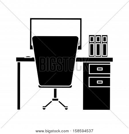 silhouette workplace office space equipment design vector illustration eps 10