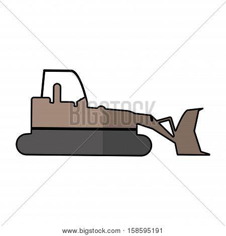 bulldozer truck construction sign shadow vector illustration eps 10