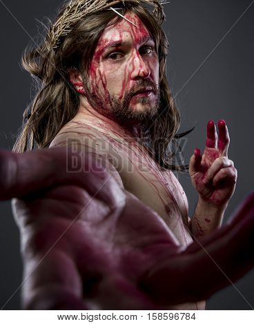Christianity, Jesus christ, jesus of nazareth with the crown of thorns and blood for his body as penance before the crucifixion