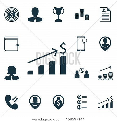 Set Of Management Icons On Pin Employee, Employee Location And Job Applicants Topics. Editable Vector Illustration. Includes Call, List, Success And More Vector Icons.