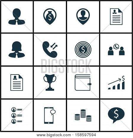 Set Of Human Resources Icons On Phone Conference, Business Deal And Wallet Topics. Editable Vector Illustration. Includes Dollar, Wallet, Growth And More Vector Icons.