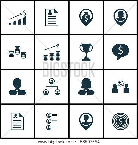 Set Of Management Icons On Successful Investment, Pin Employee And Female Application Topics. Editable Vector Illustration. Includes Phone, Opinion, Profile And More Vector Icons.