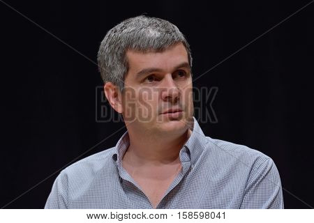 BUENOS AIRES, ARGENTINA - NOV 25, 2015: Marcos Pena, who will be Chief of Cabinet of President-elect Mauricio Macri during a press conference with foreign media at Buenos Aires Government House.