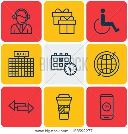 Set Of Traveling Icons On Crossroad, Hotel Construction And Takeaway Coffee Topics. Editable Vector Illustration. Includes Office, Present, Direction And More Vector Icons.