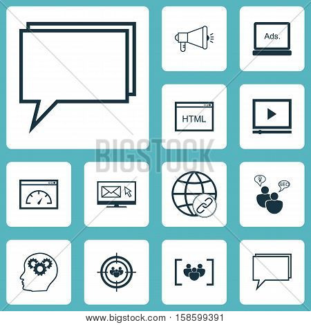 Set Of Advertising Icons On Questionnaire, Digital Media And Connectivity Topics. Editable Vector Illustration. Includes Page, Performance, Display And More Vector Icons.