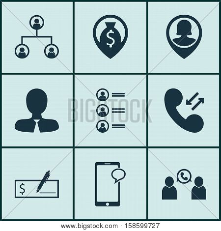 Set Of Management Icons On Phone Conference, Cellular Data And Pin Employee Topics. Editable Vector Illustration. Includes Cellular, Conference, Tree And More Vector Icons.