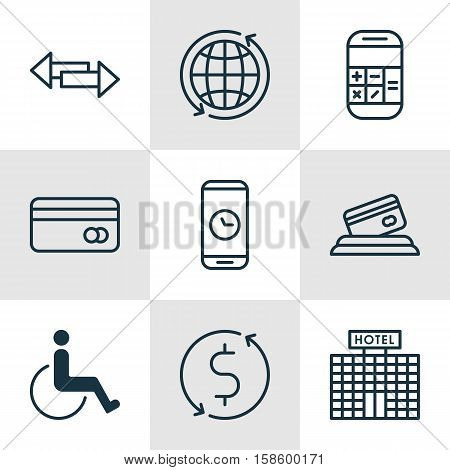 Set Of Airport Icons On Money Trasnfer, Call Duration And Credit Card Topics. Editable Vector Illustration. Includes Calculation, Mobile, Card And More Vector Icons.
