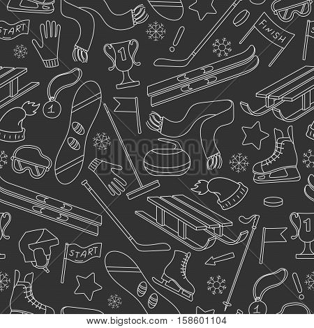Seamless pattern on the theme of winter sports simple contour icons on dark background