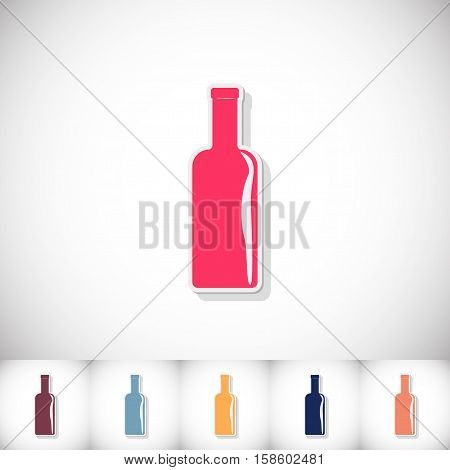 Wine. Flat sticker with shadow on white background. Vector illustration