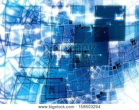 Abstract white and blue technology background - computer-generated image. Fractal art: glossy wavy surface with curled grid and light effects. For hi-tech, industrial or business design projects.