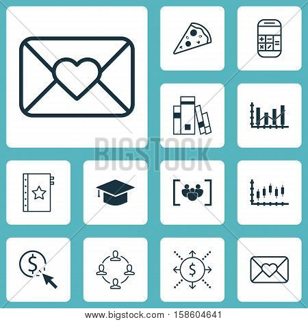 Set Of 12 Universal Editable Icons. Can Be Used For Web, Mobile And App Design. Includes Icons Such As Raise Diagram, Questionnaire, Calculation And More.