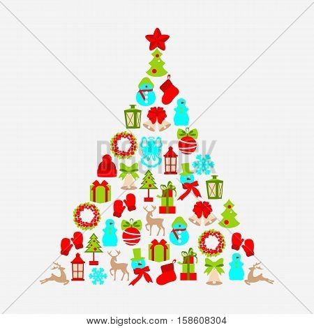 Stock vector illustration tree of winter and Christmas objects