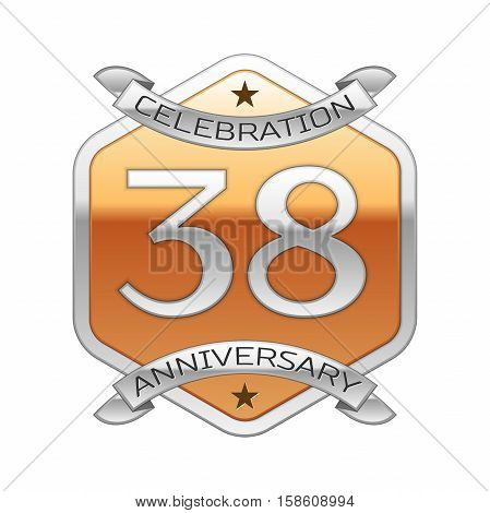 Thirty eight years anniversary celebration silver logo with silver ribbon and golden hexagonal ornament on white background.