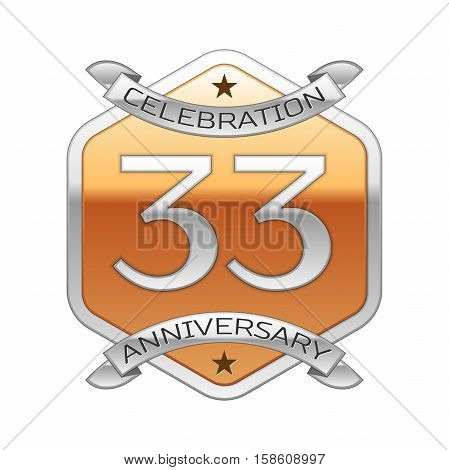 Thirty three years anniversary celebration silver logo with silver ribbon and golden hexagonal ornament on white background.