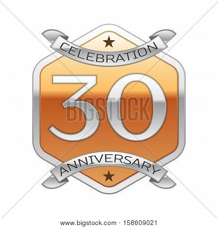Thirty years anniversary celebration silver logo with silver ribbon and golden hexagonal ornament on white background.