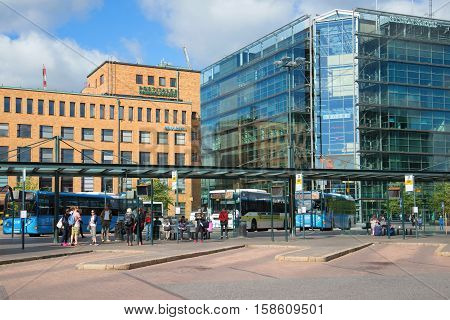 HELSINKI, FINLAND - AUGUST 28, 2016: The bus terminal at the railway station of Helsinki