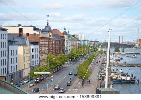 HELSINKI, FINLAND - AUGUST 28, 2016: Pohjoisranta Embankment cloudу day in August. The view from the top. The tourist landmark of the city Helsinki