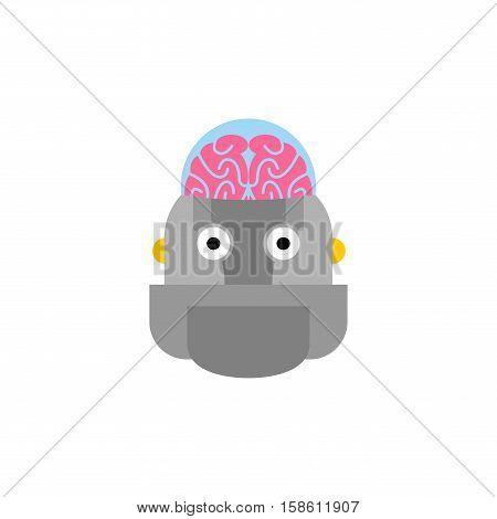 Artificial Intelligence. Robot And Brain. Cyborg Head