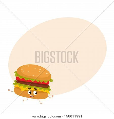 Funny burger fast food kids menu character, cartoon style vector illustration on yellow background with place for text. Funny cheese, beef burger character with eyes, legs, and a wide smile