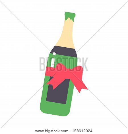 Champagne wine in bottle with red bow isolated on white background vector drink. Alcohol beverage celebration grape merlot. Gourmet restaurant party merlot drink.