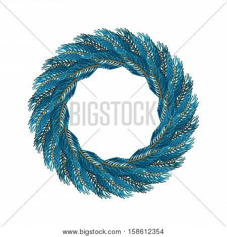 Christmas Wreath Blue Isolated. Fir Branch Circlet. Decoration For New Year