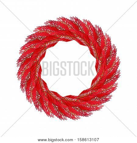 Christmas Wreath Red Isolated. Fir Branch Circlet. Decoration For New Year