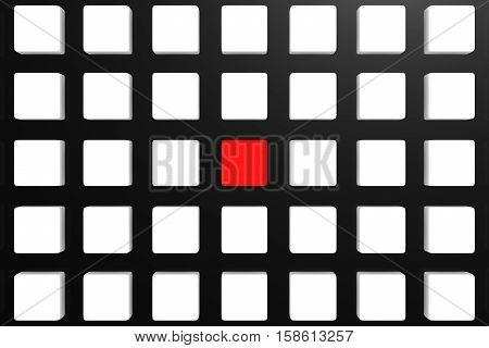 BLOCK CHAIN with red link on box background 3D illustration