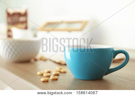 Cup of morning tea on kitchen table