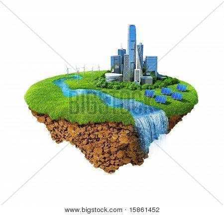 Eco city on flying island. Isolated.
