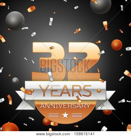 Thirty two years anniversary celebration background with silver ribbon confetti and circles. Anniversary ribbon. Vector illustration.