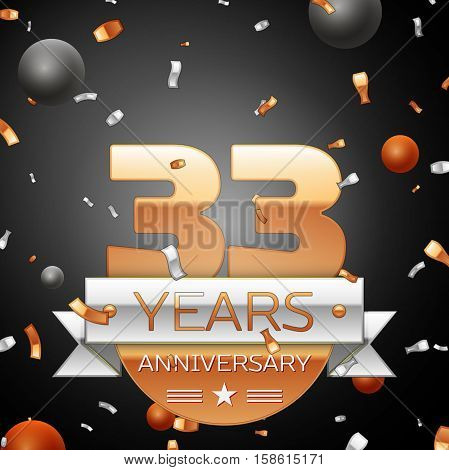 Thirty three years anniversary celebration background with silver ribbon confetti and circles. Anniversary ribbon. Vector illustration.