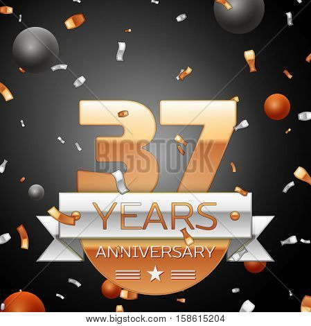 Thirty seven years anniversary celebration background with silver ribbon confetti and circles. Anniversary ribbon. Vector illustration.