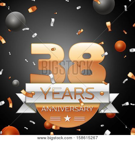 Thirty eight years anniversary celebration background with silver ribbon confetti and circles. Anniversary ribbon. Vector illustration.