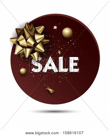 Christmas or New year holiday sale price circle sticker with golden Bow. Promotion advertisement design. Vector Illustration.