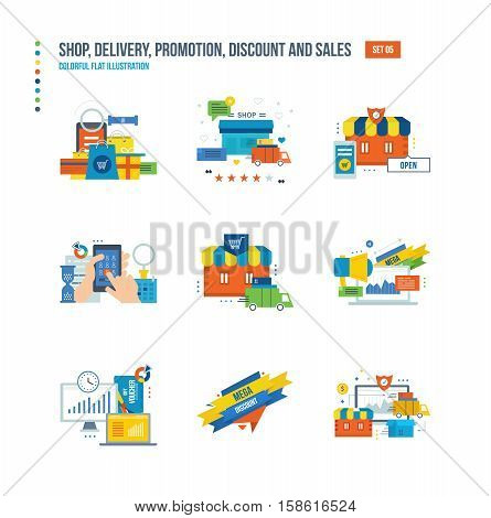 Shopping, special offers and promotions, discounts and sales, promotions, mass mailings, the acquisition of goods from payment to delivery icons set over white background. Colorful flat illustrations.