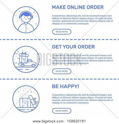Vector Illustration of flat line horizontal web banners set for e-commerce websites. Concept delivery service for Media Strategies, Investment Online Business, Digital Marketing.