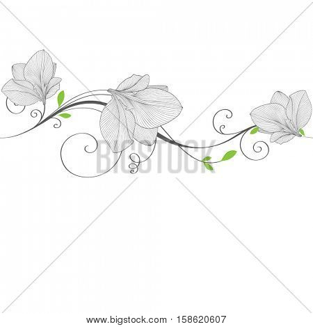 Beautiful abstract seamless hand drawn floral pattern with amaryllis flowers. Vector illustration. Element for design.