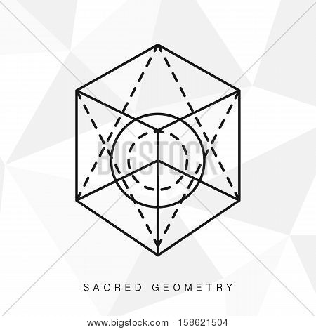 Sacred geometry sign. Linear Modern Art. Alchemy hipster symbol, logotype
