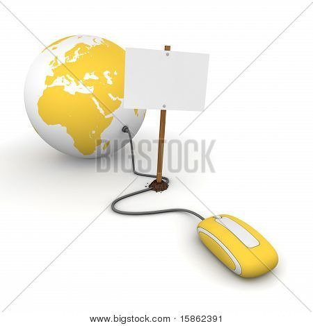 Surfing The Web In Yellow - Blocked By A White Rectangular Sign