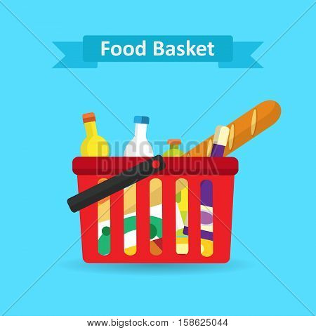 Supermarket shopping basket with fresh and natural food. Vector illustration of baskets with food, flat style.