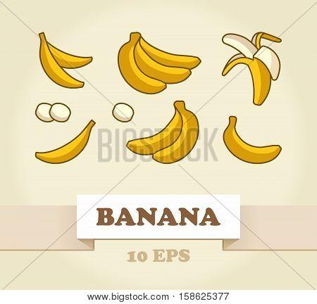 Vector Set of Cartoon Yellow Bananas. Single Banana, Peeled Bunch, Slices