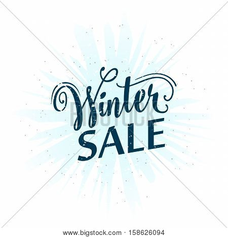 Vector illustration of calligraphy inscription winter sale. Seasonal lettering word winter sell-out. Retro winter clearance sale label, emblem, overlay for print or web