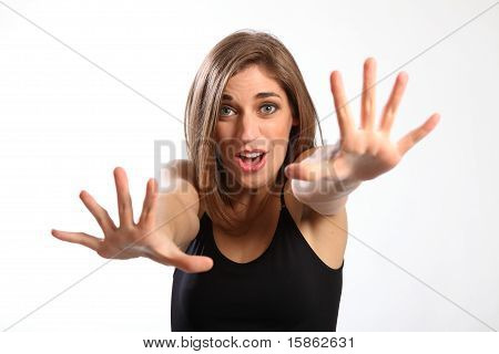 Stop! Shouts woman with outstretched arms