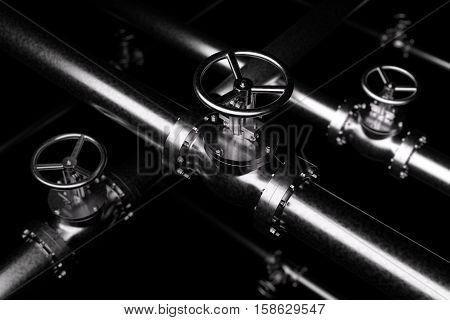 Abstract creative plumbing or gas pipeline industrial concept: steel pipes series with black valves and selective focus effect focuse on valve shallow depth of field industrial 3D illustration