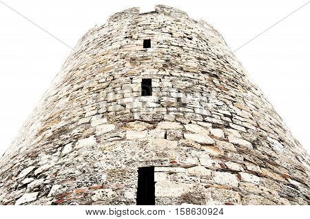 Middle Ages round tower, made of bricks and white stone