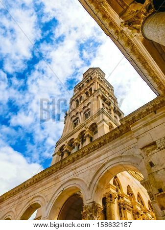 Split, Croatia.Diocletian's Palace in Split, Croatia. It is well preserved and important popular touristic attraction of Dalmatia.