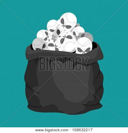 Skulls Sack. Death Bag. Sackful Skeleton Head