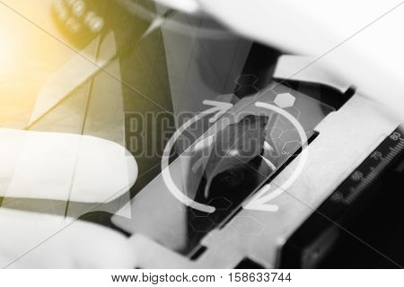 Double Exposure Of Scientist Observed Green Leaf On Slide Glass,copy Space,mock Up,film Effect.